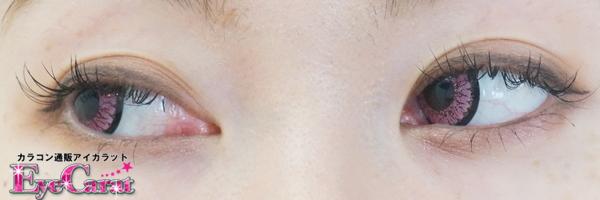 【ツッティ】ジェム ピンク 両目カラコン目線横装着画
